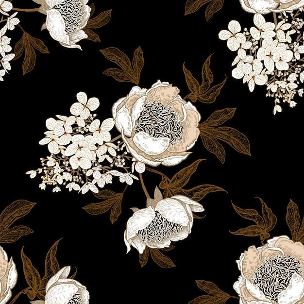 Naadloos patroon met pioenrozen en hortensia bloemen Premium Vector