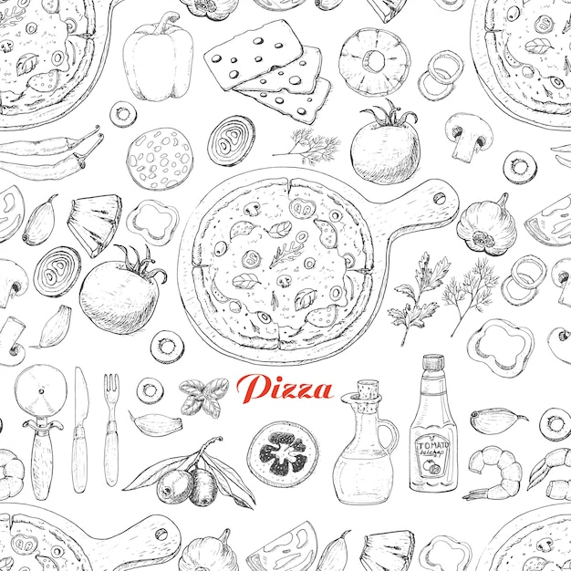 Naadloos patroon met pizza en verschillende producten Premium Vector
