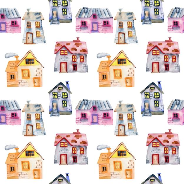 Naadloos patroon met privé huizen van de waterverfbeeldverhaal Premium Vector