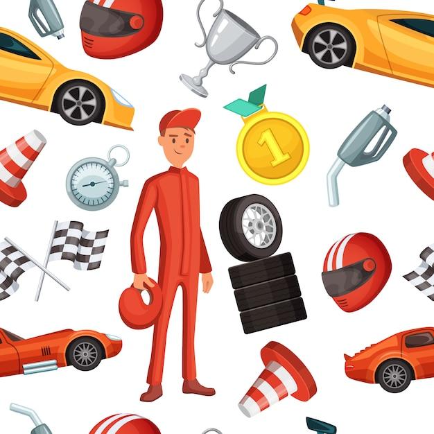 Naadloos patroon met raceauto en het rennen van sportwagens. vector sport illustraties formule een competitie achtergrond Premium Vector