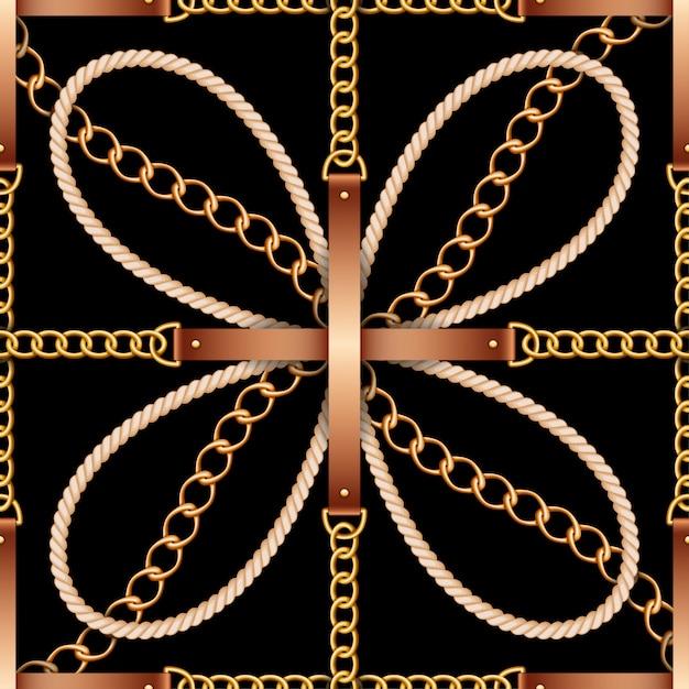 Naadloos patroon met riemen, kettingen en touw Premium Vector