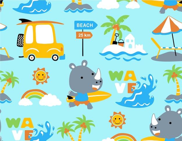 Naadloos patroon met rinocerosbeeldverhaal in het strand Premium Vector
