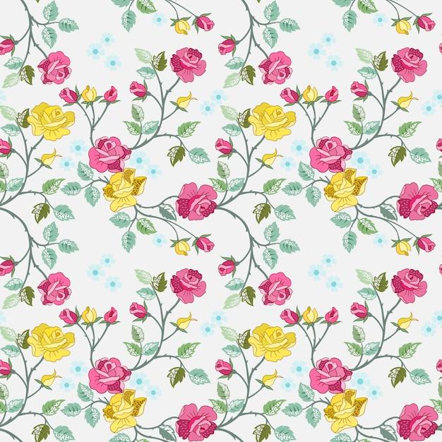 Naadloos patroon met rode en gele rozen voor stoffen textielbehang. Premium Vector