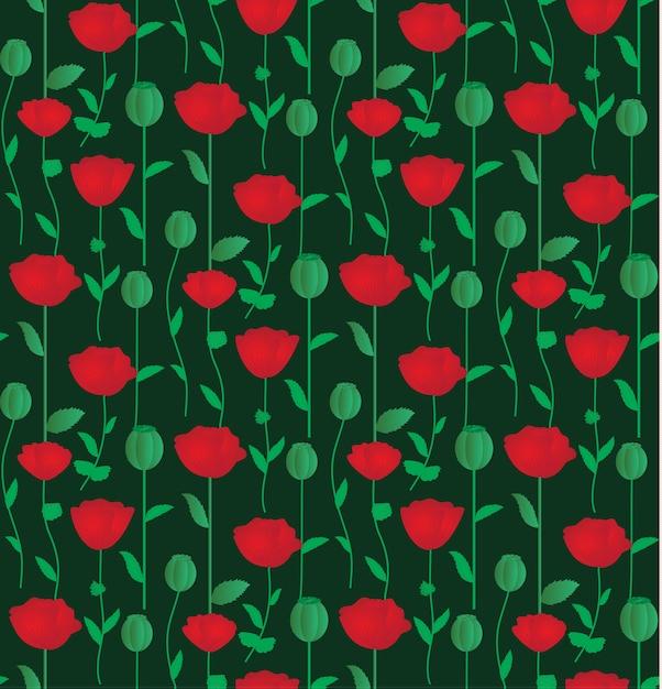 Naadloos patroon met rode papaverbloemen Premium Vector