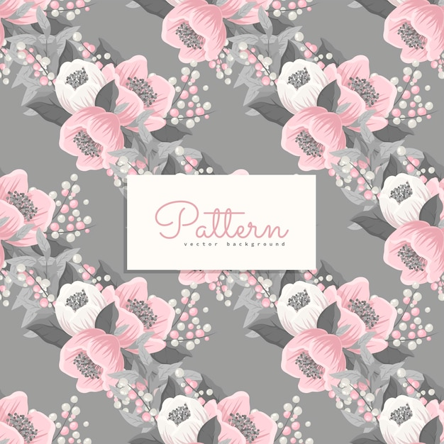 Naadloos patroon met roze en grijze bloemen Gratis Vector