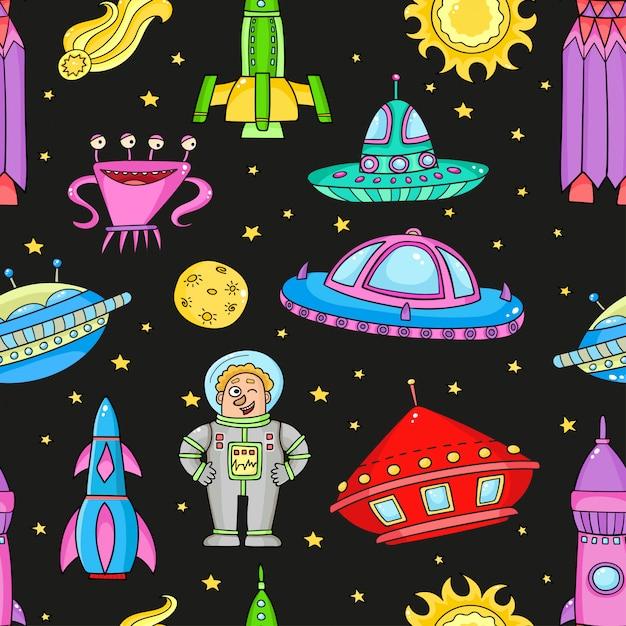 Naadloos patroon met ruimteobjecten ufo, raketten, aliens. handgetekende elementen in de ruimte Premium Vector