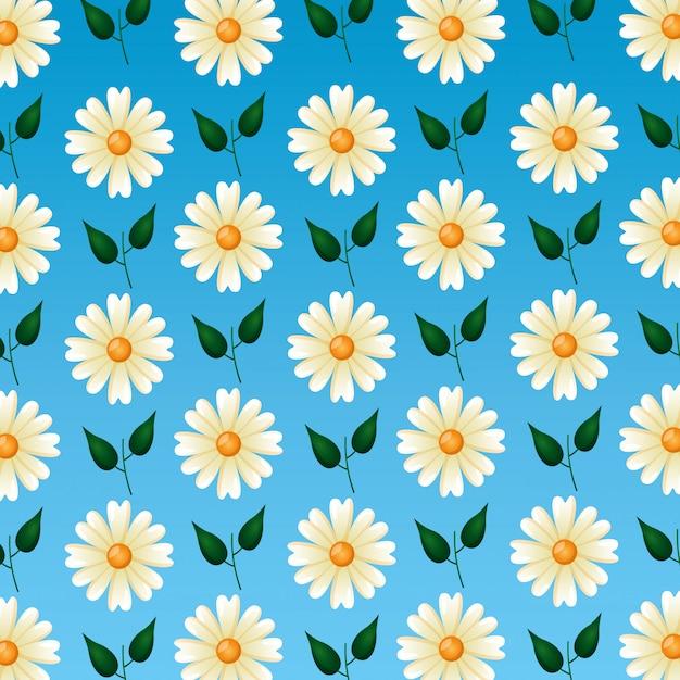 Naadloos patroon met schattige bloemen en bladeren Gratis Vector