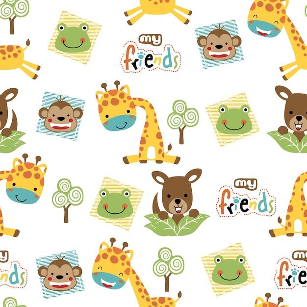 Naadloos patroon met schattige dieren cartoon Premium Vector