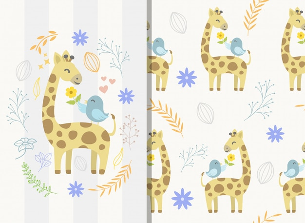 Naadloos patroon met schattige giraf en vogel karakter Premium Vector