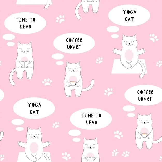 Naadloos patroon met schattige kat. koffie, lezen, yoga Premium Vector
