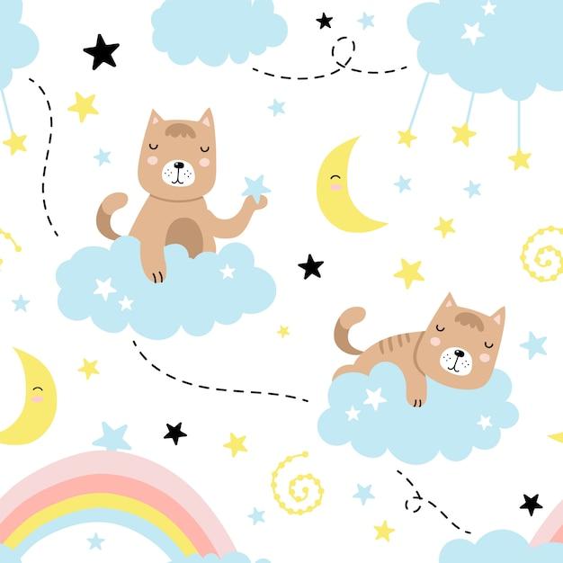 Naadloos patroon met schattige kat, wolken, sterren, maan, regenboog Premium Vector