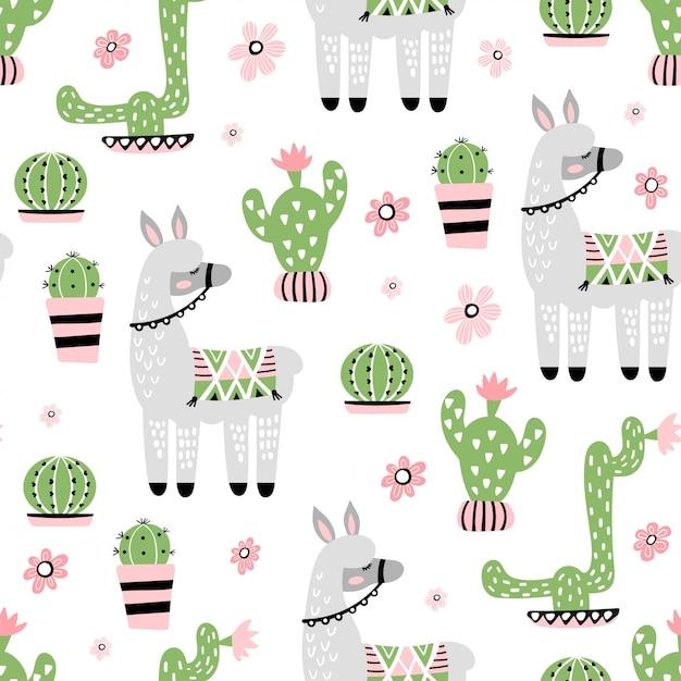 Naadloos patroon met schattige lama en cactus Premium Vector