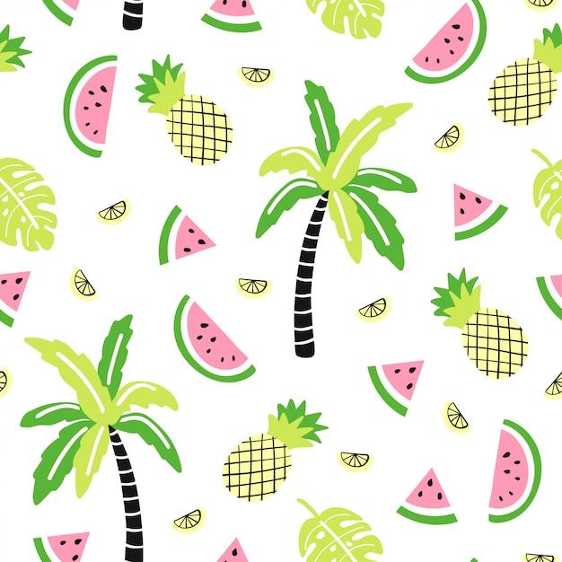 Naadloos patroon met schattige palm, watermeloen, ananas Premium Vector