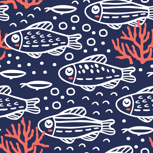 Naadloos patroon met schattige vissen Premium Vector