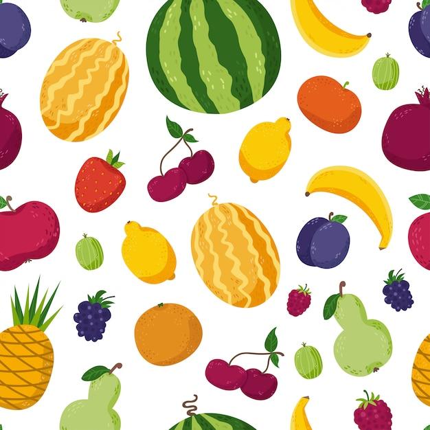 Naadloos patroon met schattige vruchten Premium Vector