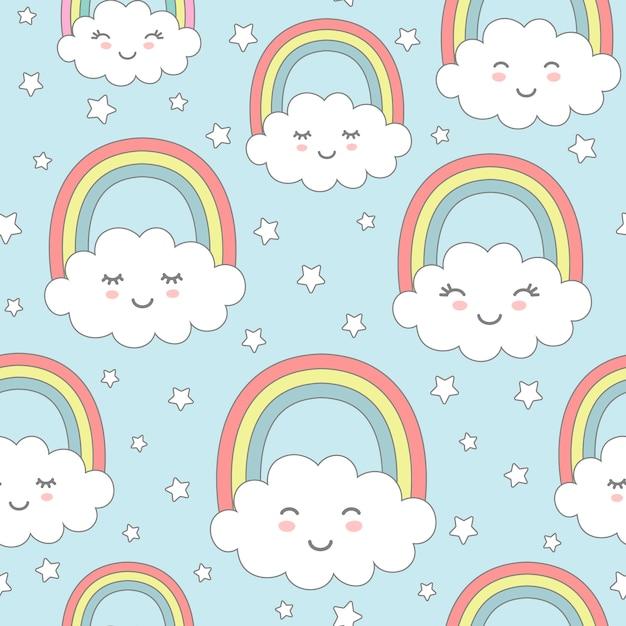 Naadloos patroon met schattige wolken, regenboog en sterren. kinderkamerontwerp voor kindertextiel, inpakpapier, behang. Premium Vector