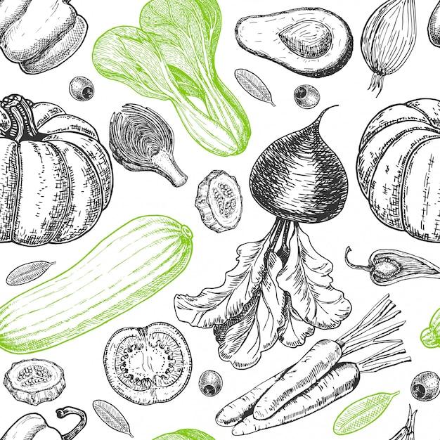 Naadloos patroon met schets van groenten. groenten achtergrond. gezond eten. groenten op witte achtergrond. illustratie Premium Vector