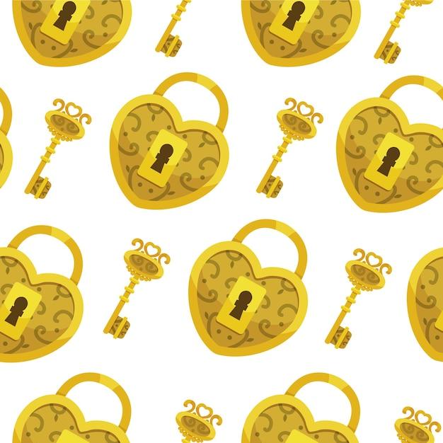 Naadloos patroon met sleutel. gouden slotharten en sleutelsachtergrond. Premium Vector