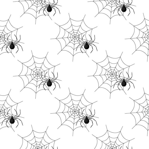 Naadloos patroon met spinneweb op halloween Premium Vector
