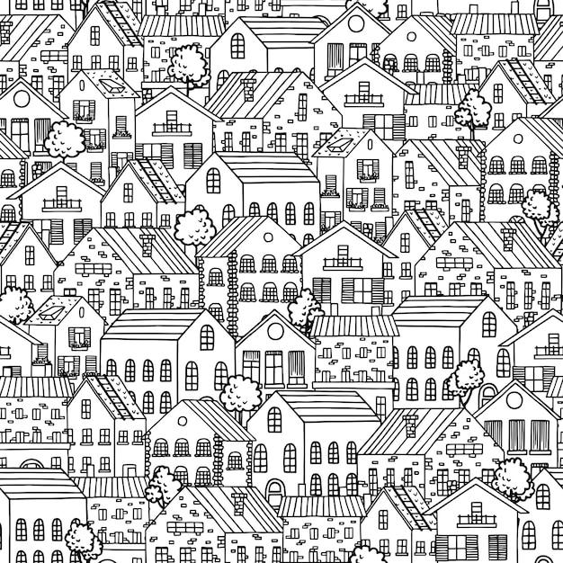 Naadloos patroon met stadshuizen. Premium Vector
