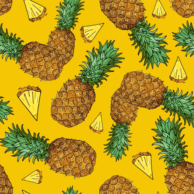 Naadloos patroon met stuk tropische vruchten op geel Premium Vector