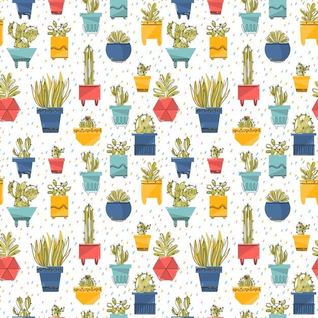 Naadloos patroon met succulent en cactussen in kleurrijke potten. Premium Vector