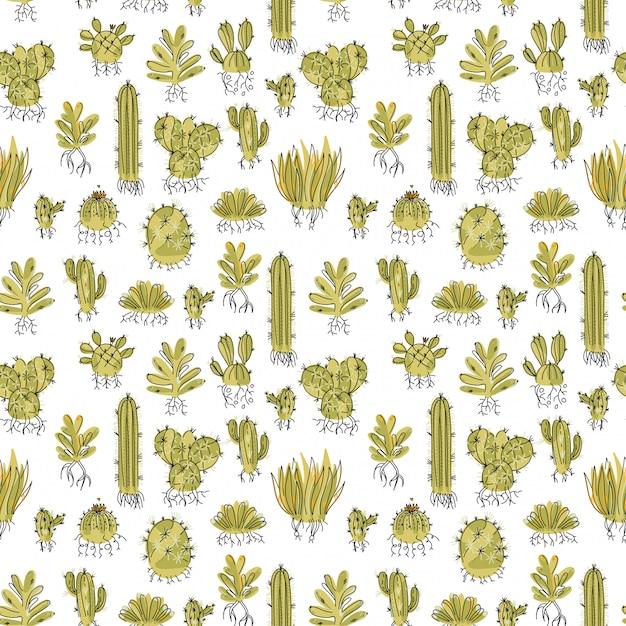 Naadloos patroon met succulent en cactussen met wortels Premium Vector