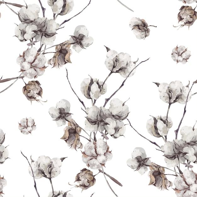 Naadloos patroon met takjes en katoenen bloemen. Premium Vector