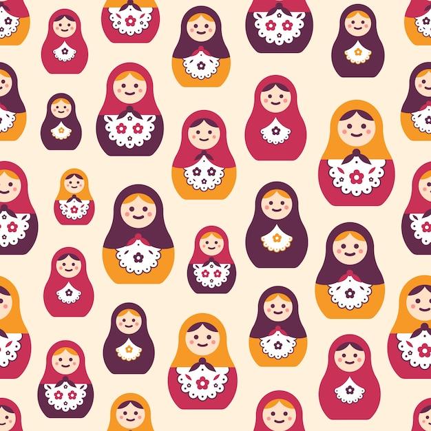 Naadloos patroon met traditionele russische folk handgemaakte poppen. Premium Vector