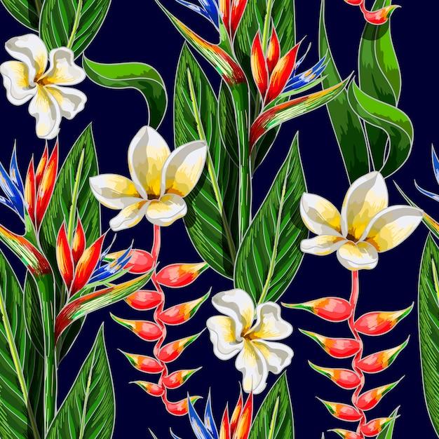 Naadloos patroon met tropische bloemen Premium Vector