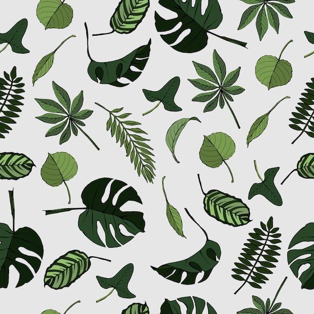 Naadloos patroon met tropische en exotische bladeren Premium Vector