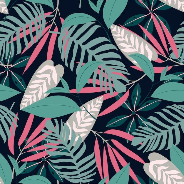 Naadloos patroon met tropische planten Premium Vector