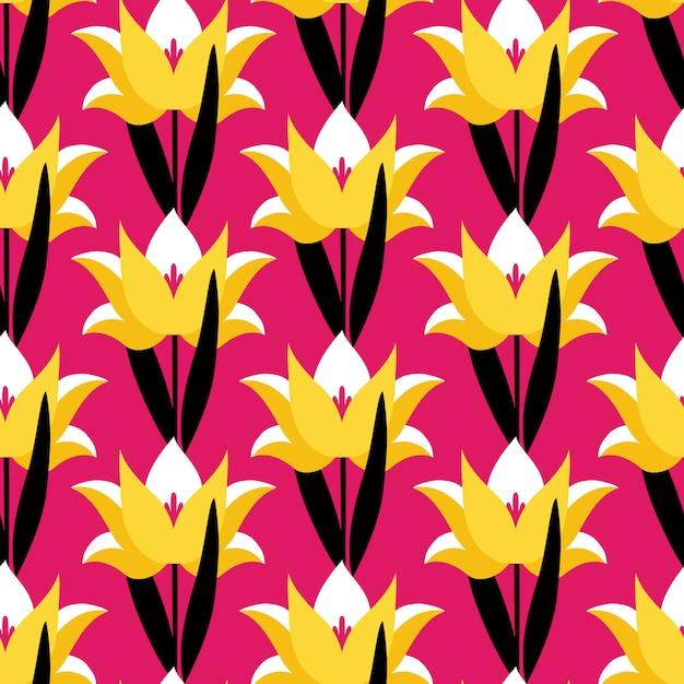 Naadloos patroon met tulpenbloemen op roze achtergrond. Premium Vector