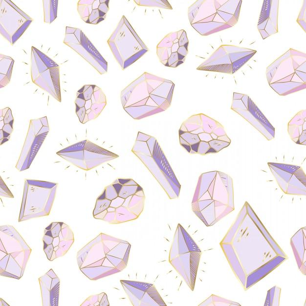 Naadloos patroon met vector gekleurde kristallen of edelstenen Premium Vector