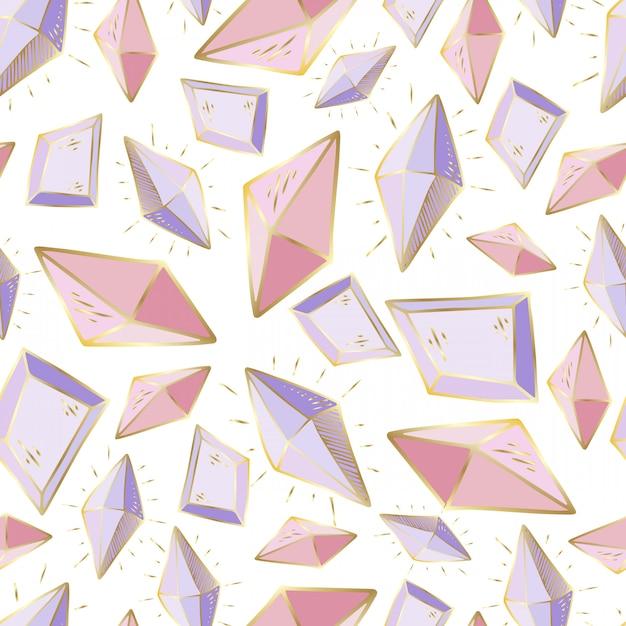 Naadloos patroon met vectorkristallen of gemmen Premium Vector