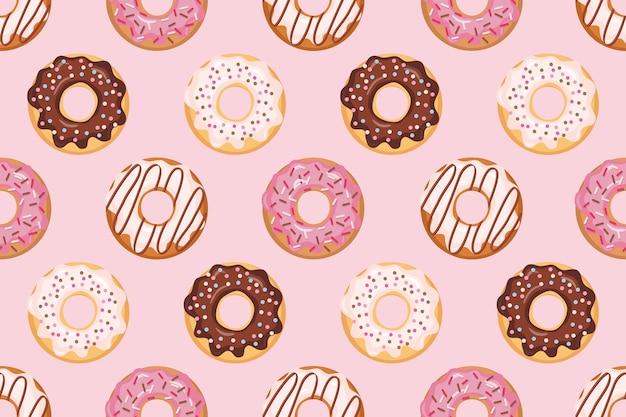 Naadloos patroon met verglaasde donuts Premium Vector
