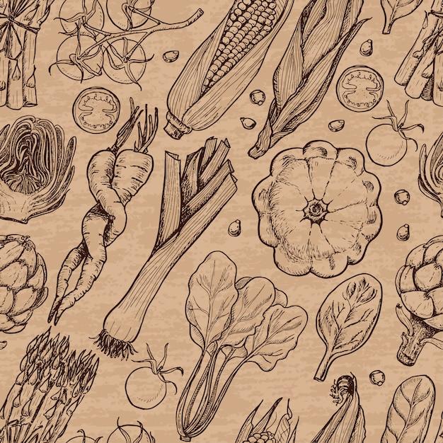 Naadloos patroon met verse groenten Premium Vector