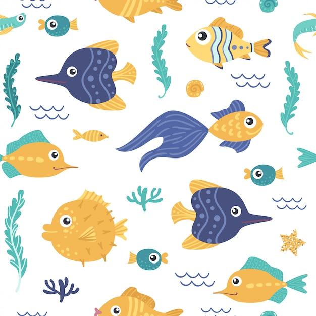 Naadloos patroon met vissen Premium Vector
