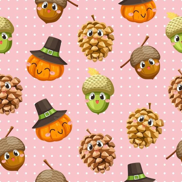 Naadloos patroon met walnoten, pompoenen en gedroogde dennenappels. Gratis Vector