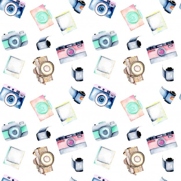 Naadloos patroon met waterverf retro camera's Premium Vector