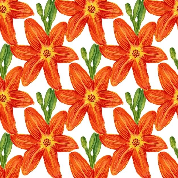 Naadloos patroon met waterverfbloemen. leliesachtergrond voor behang, textiel, stof of verpakkingsontwerp Premium Vector