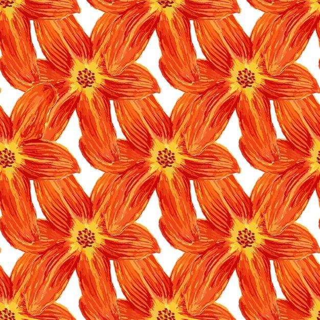 Naadloos patroon met waterverfleliebloemen. leliesachtergrond voor behang, textiel, stof of verpakkingsontwerp Premium Vector