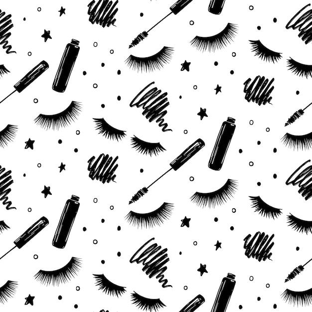Naadloos patroon met wimpers en mascara. gesloten ogen Premium Vector