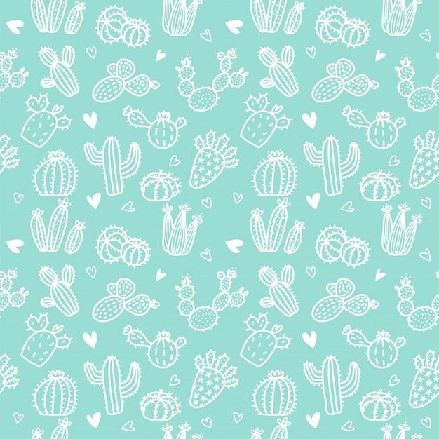 Naadloos patroon met witte lijncactus en succulents op muntachtergrond. Premium Vector