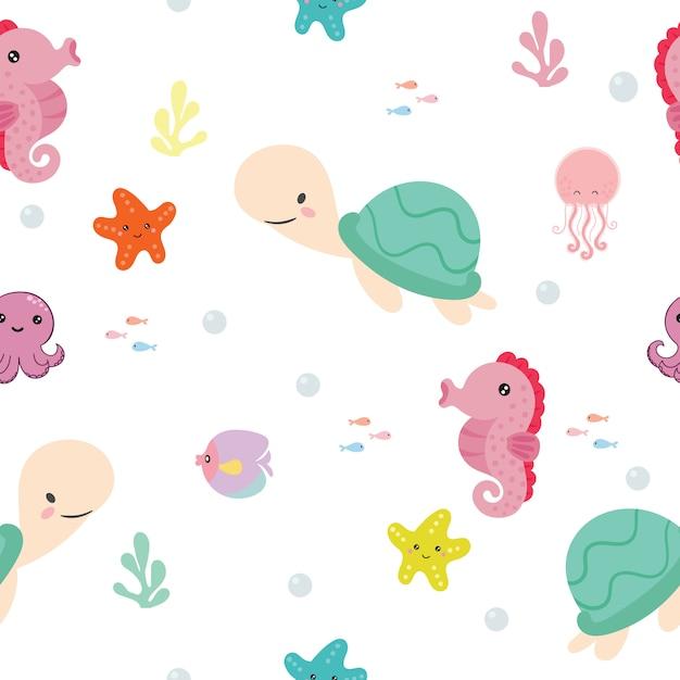 Naadloos patroon met zeedieren. Premium Vector