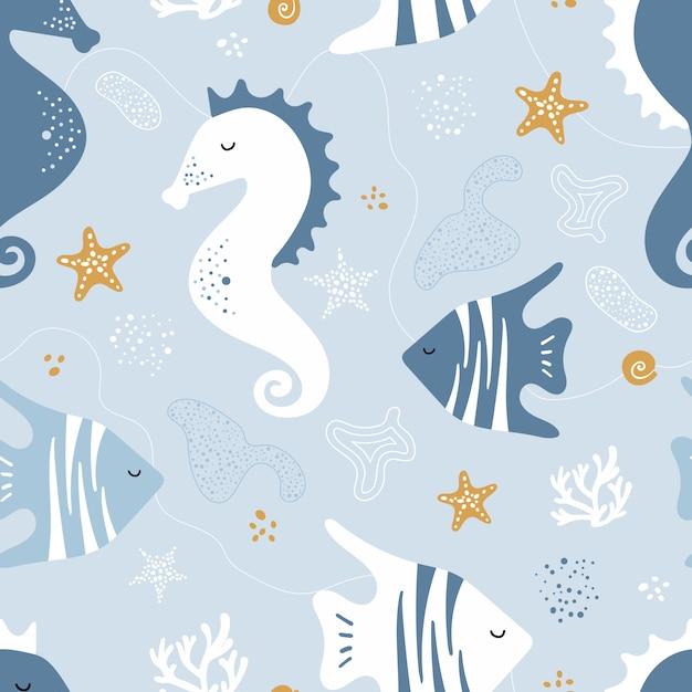 Naadloos patroon met zeepaardjes, vissen Premium Vector