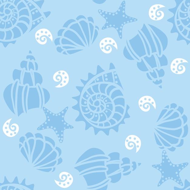 Naadloos patroon met zeeschelpen op blauw Premium Vector