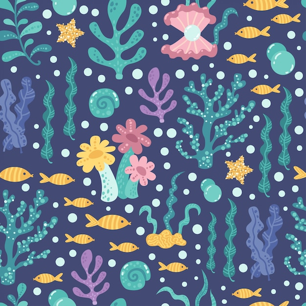 Naadloos patroon met zeewier en vis Premium Vector