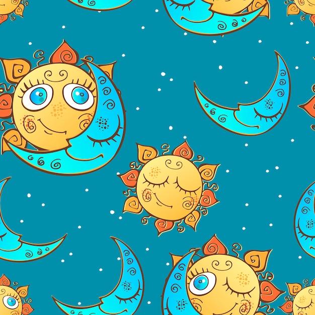 Naadloos patroon met zon en maan voor kinderen. Premium Vector