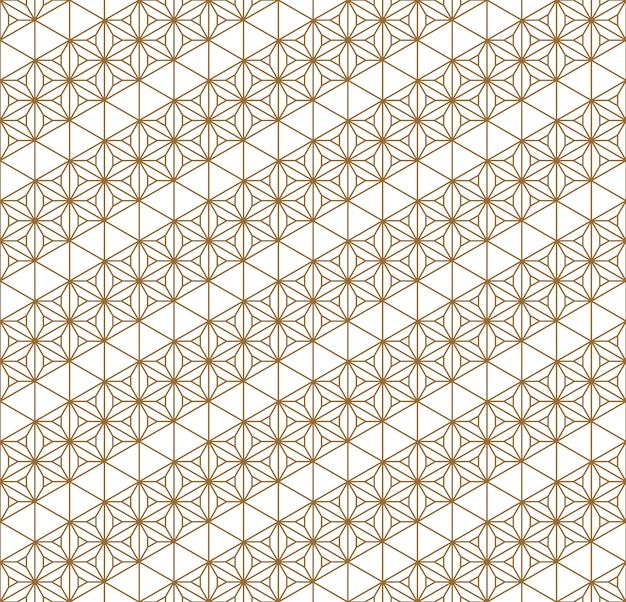 Naadloos patroon traditioneel japans geometrisch ornament gouden rassenbarrières. Premium Vector